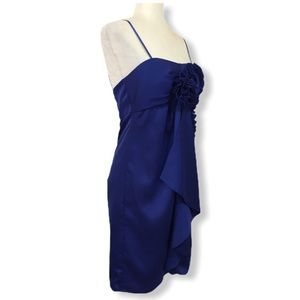 Max and Cleo ultramarine blue satin cocktail dress